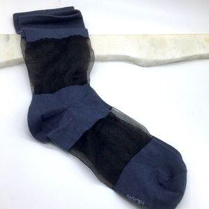 Free People Blue and Black Sheer Socks